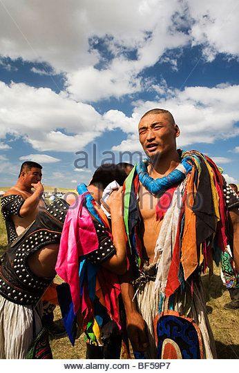 Mongolian wrestlers during Naadam Festival, Xilamuren Grassland, Baotou City, Inner Mongolia Autonomous Region, China - Stock Image