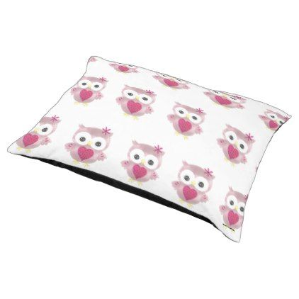 Cute Pink Owl Pattern Large Pet Bed - pattern sample design template diy cyo customize
