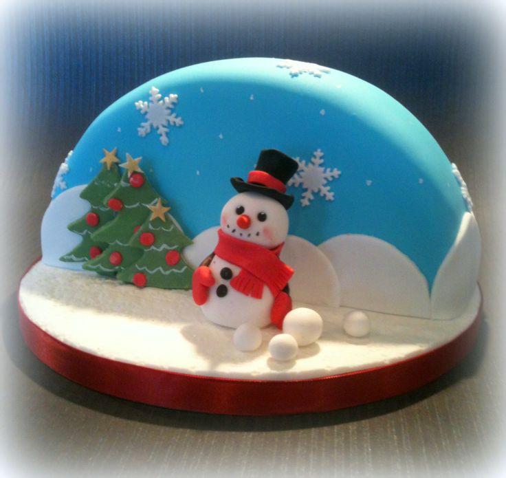 Snowglobe christmas cakexBaked goodness Pinterest ...