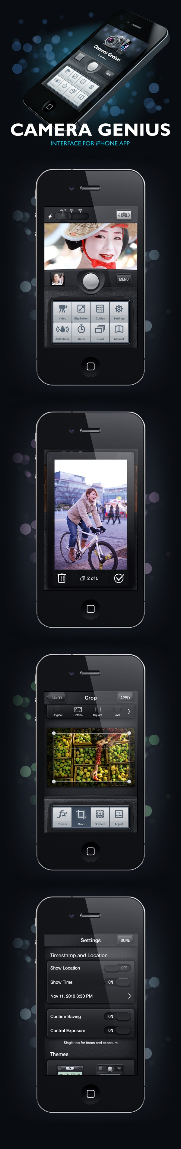 "Camera Genius by Artua - ""A camera application that significantly increase standard functionality. It works on almost any Apple device that has iOS 4.0+ installed. It has separate focus and exposure areas, picture editing tools and effects, social network sharing feature and more..."""