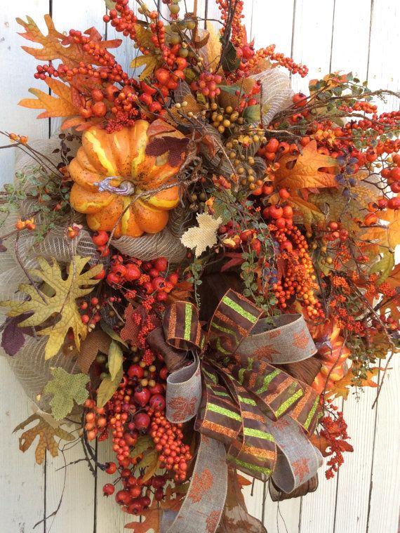 Mesh Fall Wreath Autumn Wreath Harvest Wreath Harvest