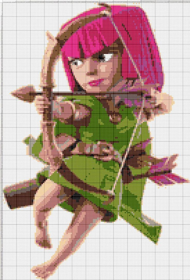 Gambar Pola Kristik Tokoh Archer di Game Clash of Clans