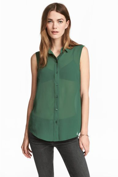 10€ blusa sin mangas - Verde oscuro - MUJER   H&M ES 1