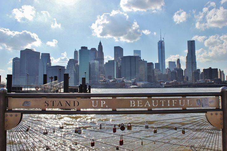 Lower Manhattan skyline view from Brooklyn Bridge Park New York City