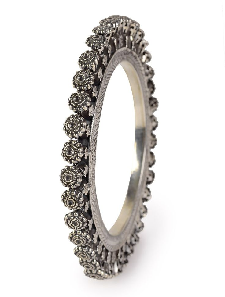 Buy Silver Ethno Bangle (Bangle Size 2/10) 92.5% Sterling Jewelry Tribal Encounters Online at Jaypore.com
