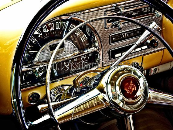 Pontiac Chieftain {photograph} 1954 traditional automotive dashboard steering wheel On the spot obtain picture golden inside car pictures artwork