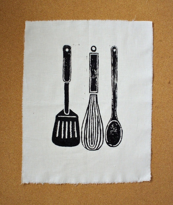 Block Print of Kitchen Utensils on Cotton Fabric. From Yummy Year Project on Etsy
