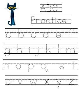 Pete the Cat Lowercase ABC Tracing