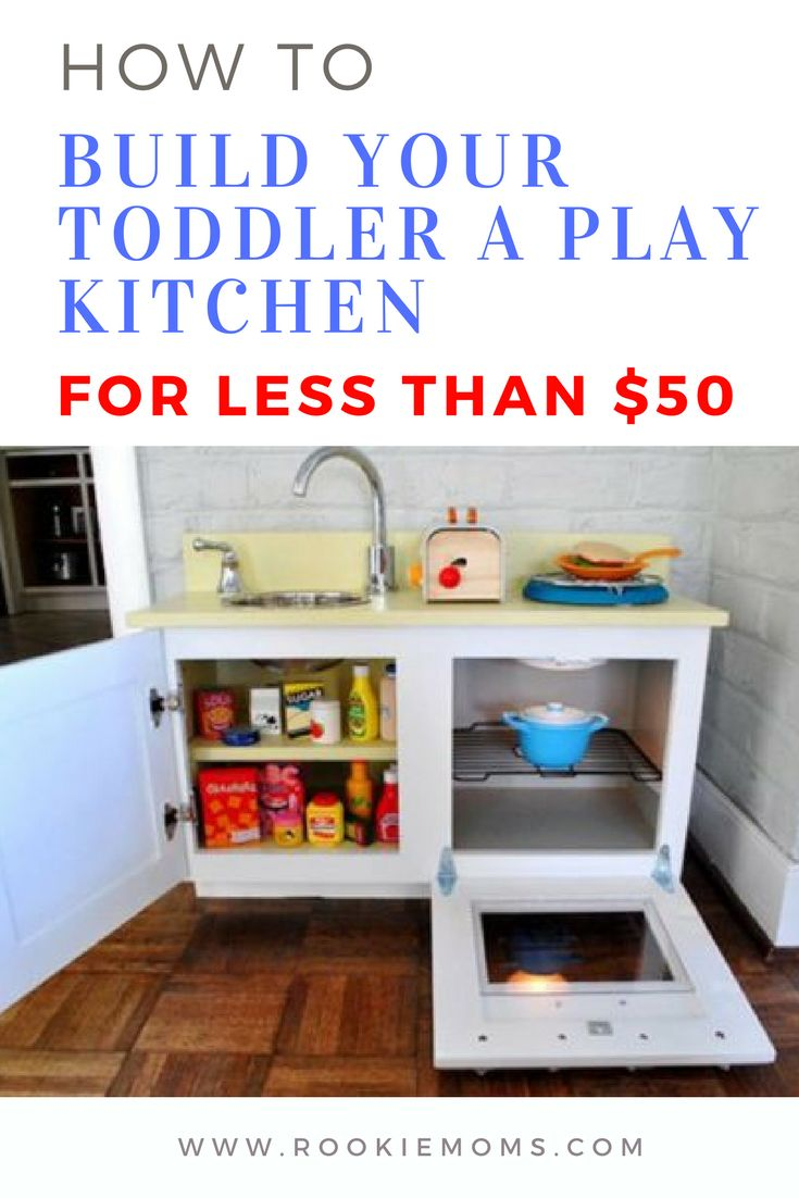We look at three ways to build a toddler play kitchen for as little as $50. #toddler #toys  via @rookiemoms