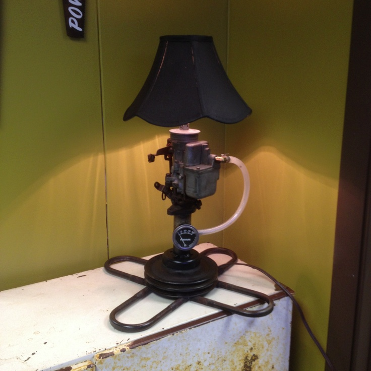 Lamp made of old car parts kevin corder art work Custom furniture made car parts