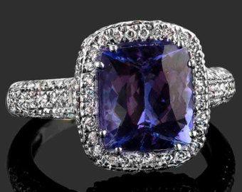 Tanzanita anillo de compromiso. Amortiguador de rosa oro