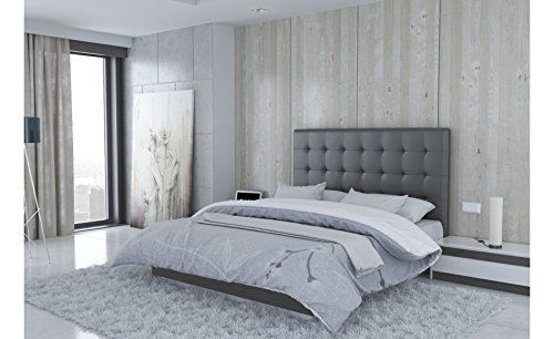 usinestreet t te de lit en simili cuir gris milan taille 160 cm cuisine. Black Bedroom Furniture Sets. Home Design Ideas