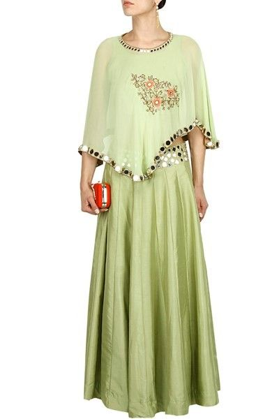 Pista green mirror and thread embroidered cape lehenga set ...