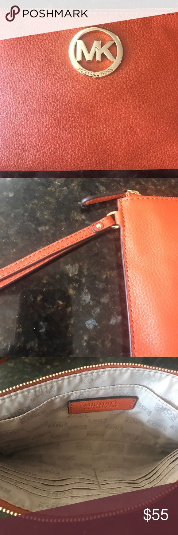 "MICHAEL KORS Fulton Large Zip Burnt Orange Clutch 🎃Used only Once!! 10 x 5.5 "" soft leather:). Less $$ on Ⓜ️ or 🅿️🅿️ Michael Kors Bags Clutches & Wristlets"