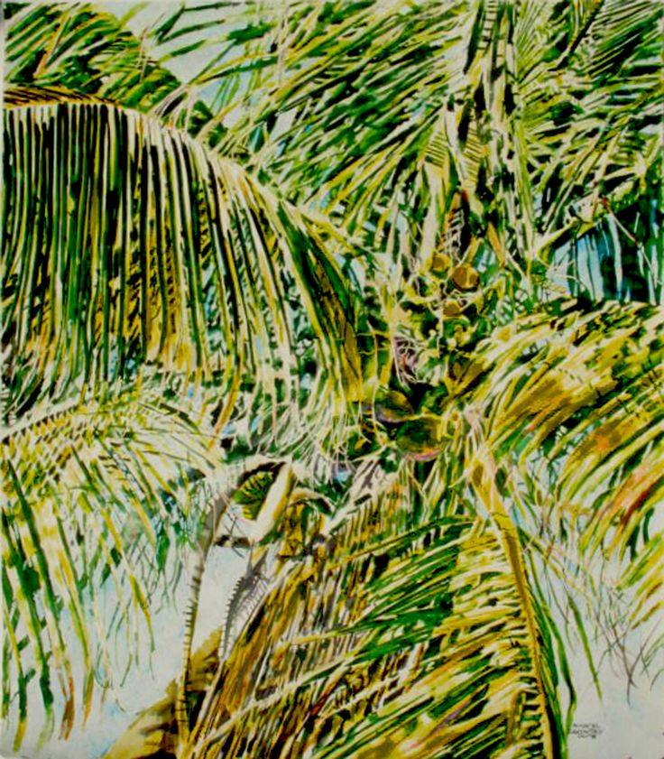 "grenadines - saltwhistle bay- palm tre  34"" x 26""  - micheal zarowsky - watercolour on arches paper"