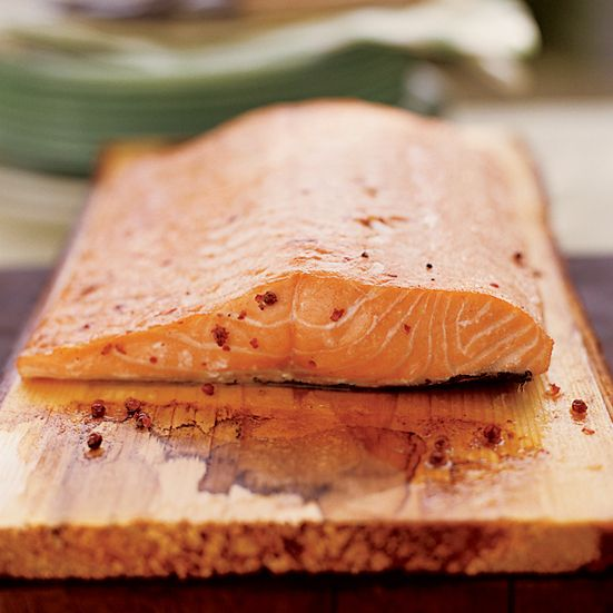 bbq'ed planked salmon