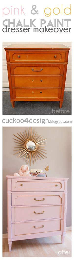 DIY home made chalk paint dresser makeover in pink and gold by cuckoo4design