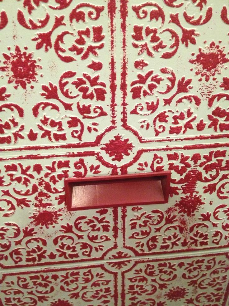 Aqua and Red Filing Cabinet