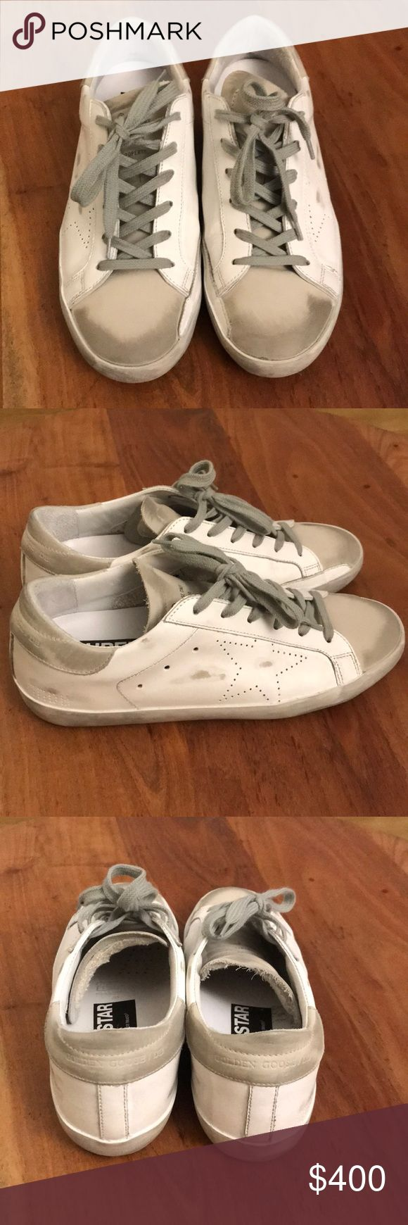 Golden Goose sneakers Super star low top leather trainers. Only worn around my apartment. Super comfortable but they are a size to big for me. Willing to trade for size 37. Golden Goose Shoes Sneakers
