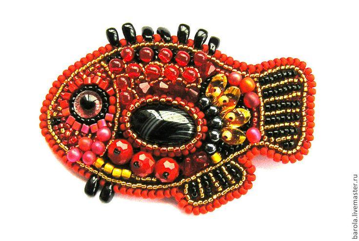 """Брошь """"Красная рыбка"""". Handmade."""