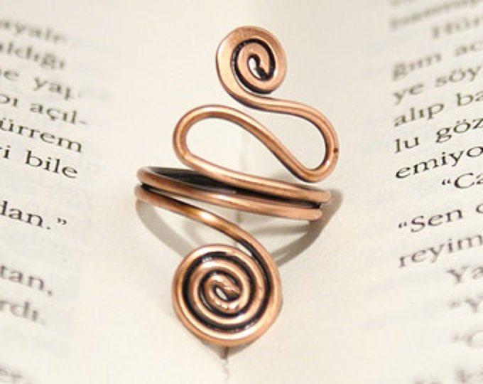 anillo de cobre alambre anillo envuelto anillo ajustable alambre envuelto anillo cobre alambre envuelto joyería joyería hecha a mano de cobre