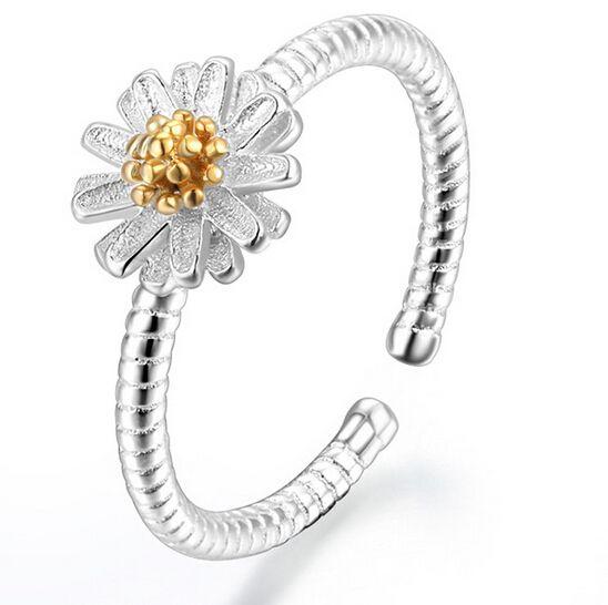Cm720 2015 рождественские подарки посеребренные цветок лотоса обручальные кольца ромашке открытое кольцо для женщин девушки подарок ювелирных изделий