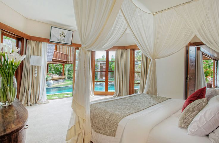 ROMANTIC Bedroom by Canela Bali.  Romantic wooden bed and nightstand.  Get your own on https://www.canelabali.com/canelabalibedroom