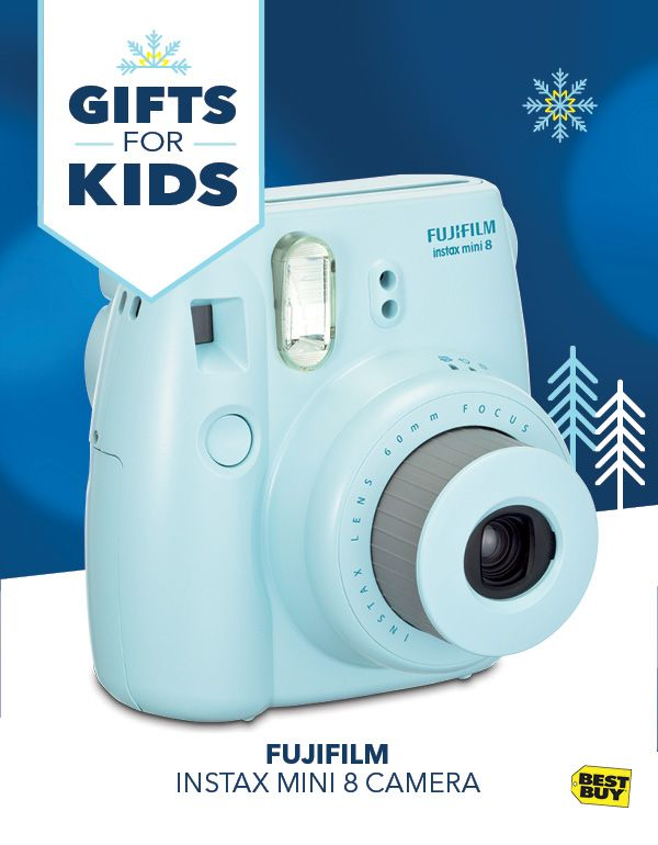 Give your little photographer a big smile with this Fujifilm Instax Mini 8 Camera. It uses real film packs that kick out awesome photos instantly to have and share, with available colortheme film for customized prints. The brightness dial enables simple customization, and the high-key mode softens your shots for a creative touch. And with free shipping, it's holiday gifting made easy.