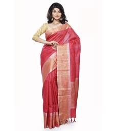 Buy Red woven silk saree with blouse hand-woven-saree online