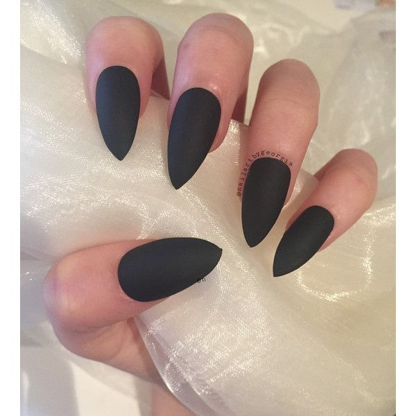 Beautiful matte black stiletto nails ($10) ❤ liked on Polyvore featuring beauty products, nail care, nail treatments and nails