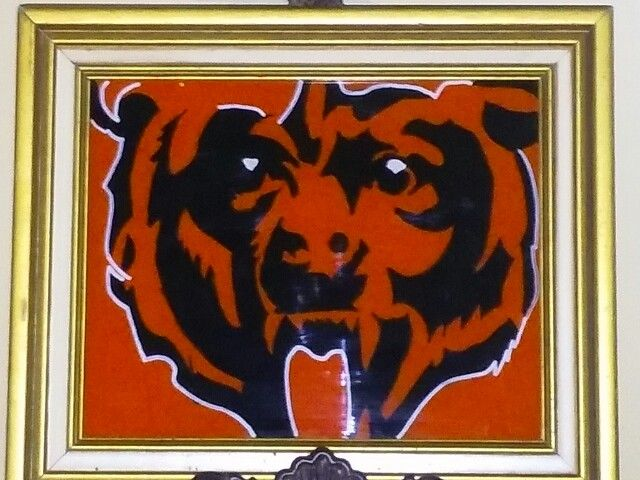 "Chicago Bears reverse painting 11""x13"" $35 +shipping.  message me for more details"