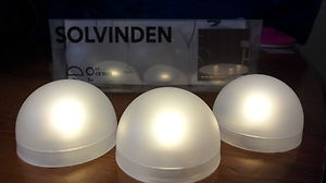 Ikea solvinden night lights tea lights semi globe battery for Ikea tea light battery