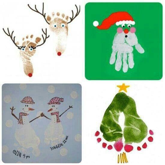 Christmas hand foot prints