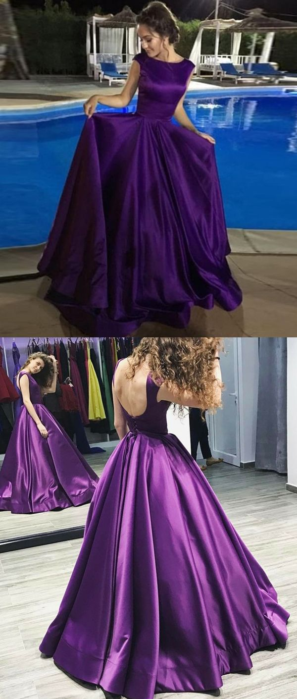 a line purple long prom dresses, unique lace up prom dress with pleats, fashion backless long party dresses