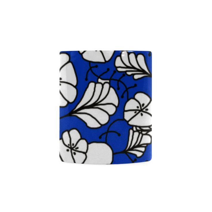 CVDr0098 Blue White Black Tangle Flowers White Mug(11OZ)