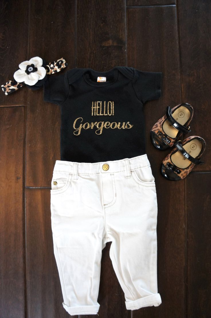 Hello Gorgeous Gold Glitter on Black Onesie for Baby Girls and Toddlers by GraceandLucille on Etsy https://www.etsy.com/listing/222333405/hello-gorgeous-gold-glitter-on-black