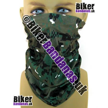 Green Khaki and Black Pixelated Digital Camouflage Multifunctional Headwear / Neck Tube Bandana.  One of over 400 Styles for Men and Women
