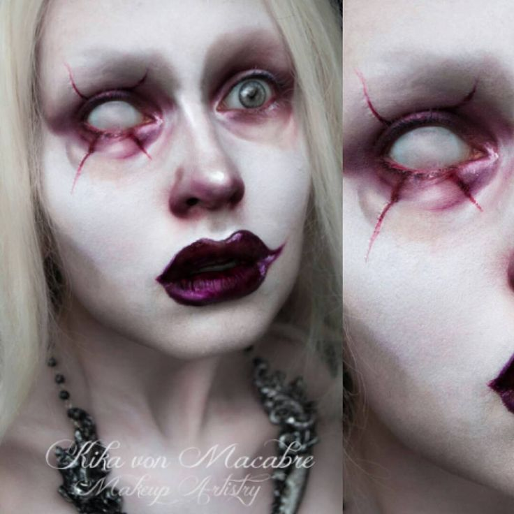 "Ready for my closeup! ;) Inspired by @michael_hussar Model/Mua/photography - @kikamacabre Necklace - @hysteriamachine Face - @Illamasqua rich liquid foundation in white (also used as a highlighter for the rest of the makeup), Barry M eyeshadows for shading Eyes - @Sugarpill ""Love+"" eyeshadow, MAC Cosmetics ""Nightmoth"" lipliner & eyeshadow, Kryolan Rigid Collodion, Barry M eyeshadow Lips - @prettyzombiecosmetics ""Dahlia"" liquid lipstick, MAC cosmetics ""Nightmoth"" lipliner"