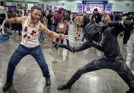 Who wins in this X-cellent/Marvelous matchup?  Can't wait to see #blackpanther tonight!  BLACK PANTHER IS COSPLAYED by @skydiddy_playstation !! FACEBOOK.COM/LONSTERMASH FOR MORE COSPLAY PICTURES.  YOUTUBE CHANNEL AT LONSTERMASH FOR MY INTERVIEWS WITH HUGH JACKMAN & PATRICK STEWART! (link in bio)  ONLINE FITNESS COACHING AVAILABLE !! Contact me here or on my Facebook page.  #Logan #lonstermash4wolverine #wolverine #xmen #hughjackman #cosplay #marvel #comics #stanlee #fitness #muscles…