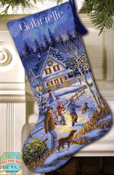 Gold Collection - Christmas Eve Fun Stocking - Cross Stitch World