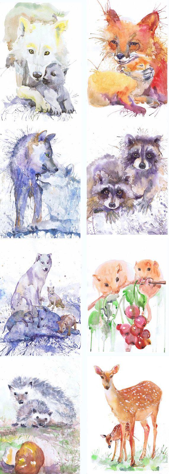 ATC ensemble de 9 signé Art aquarelle artiste cartes à par ValrArt