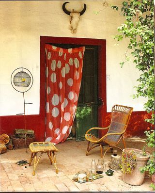 ..Doors, Polka Dots Curtains, Home Interiors, Chairs, Interiors Design, House, Outdoor Spaces, Outside Patios, Santa Fe Style