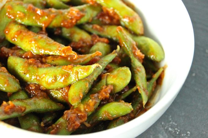 Miso Chilli Edamame - packed with protein and flavour. Ready in 10 minutes - check out www.theworkingfoodie.com for the recipe!