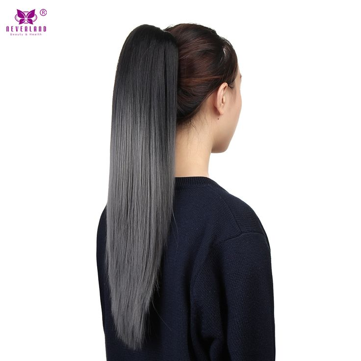 """Neverland Synthetic Straight Claw Clip On Ponytail Fake False Pony Tail 20"""" Black Ombre Dark Grey Hair Extension Hair Pieces"""