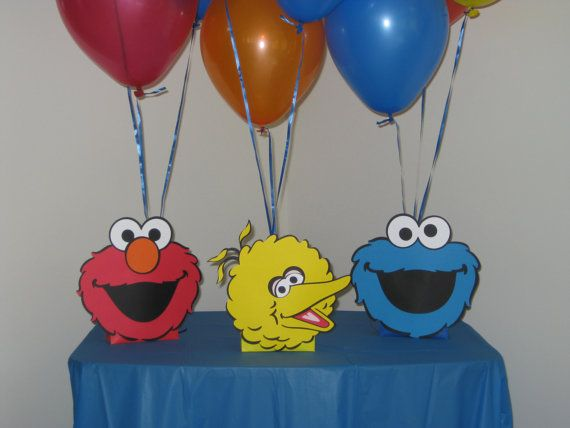 Sesame Street Centerpieces Balloon Holders Elmo, Cookie Monster & Big Bird on Etsy, $12.00