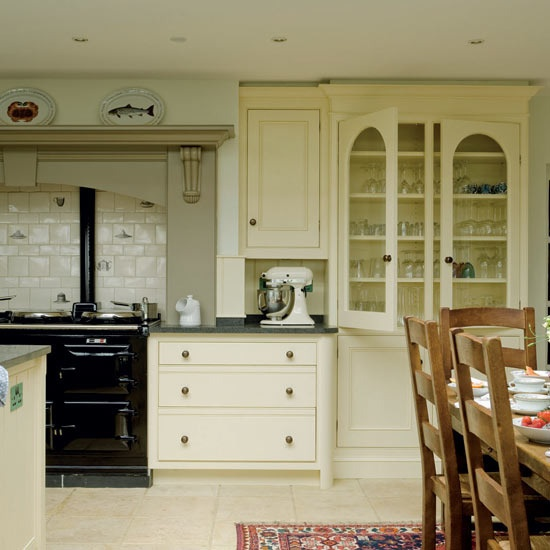 Robinson and Cornish kitchen cream painted wooden units