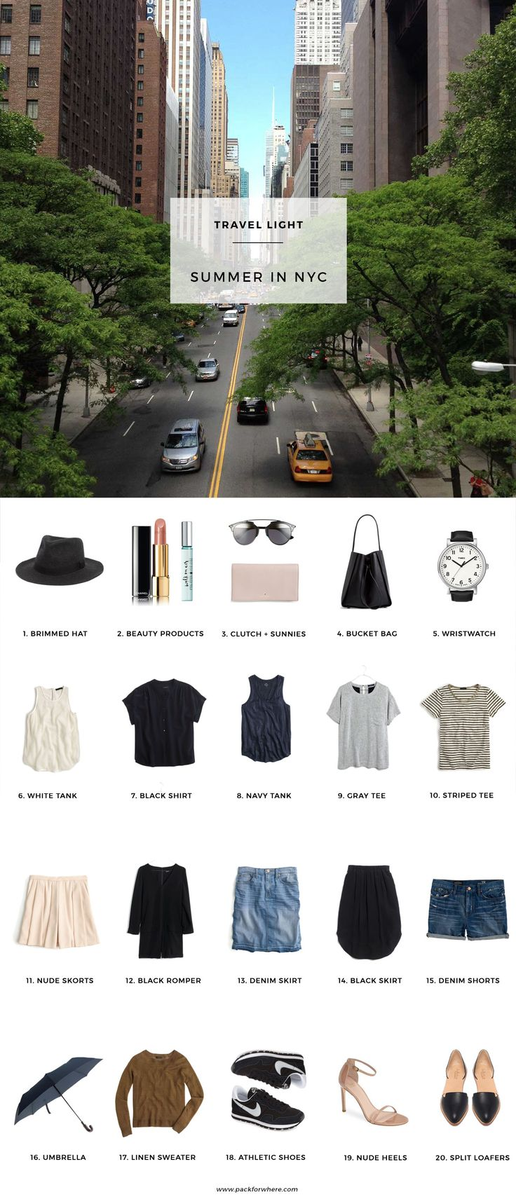 Pack for Summer in NYC, includes shoppable packing list and outfits. Fits in a carry-on!