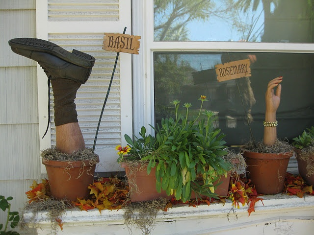 Halloween flower boxes - Great prop idea from Dave Lowe