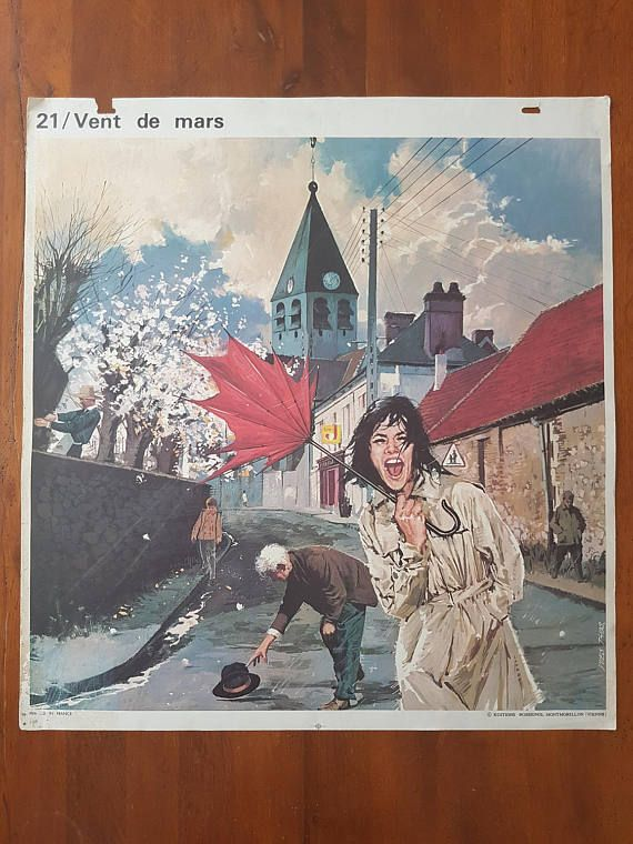Affiche scolaire Yves THOS  20 & 21 large vintage french