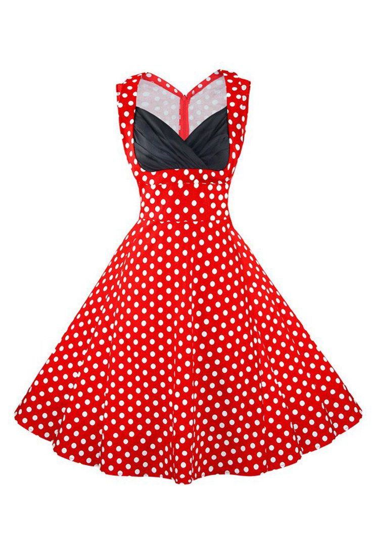 The Atomic Vintage Red Polka Dot V-Neck Cocktail Dress features a polka dot pattern, sleeveless design, a deep V neckline and a beautiful contrasting black pleated bust. https://atomicjaneclothing.com/products/vintage-red-polka-dot-cut-out-v-neck-casual-dress